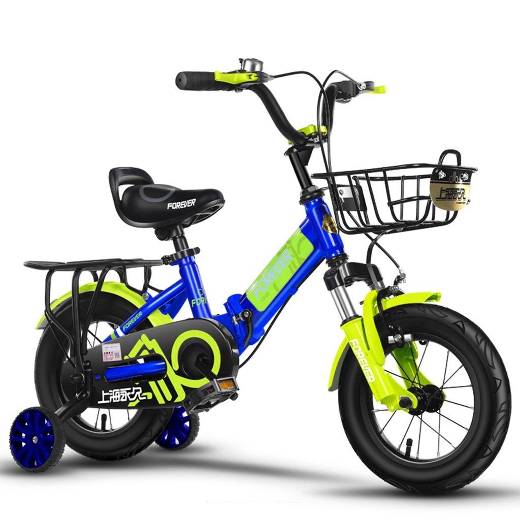 CSQ 折りたたみ自転車、少年少女ペダル自転車小児個々の自転車2~12歳の赤ちゃん補助車輪と自転車88~128CM 子供用自転車 (色 : 青, サイズ さいず : 121CM) B07DPPFH6B 121CM|青 青 121CM