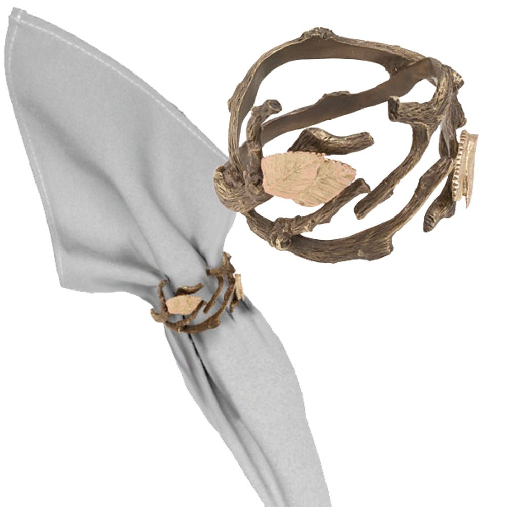 ''Autumn Birch'' Napkin Rings (Set of 4) ~ Table Art by Michael Michaud for Silver Seasons