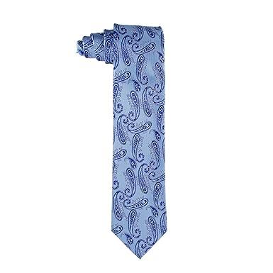 Corbata de hombre en seda azul con estampado paisley: Amazon.es ...
