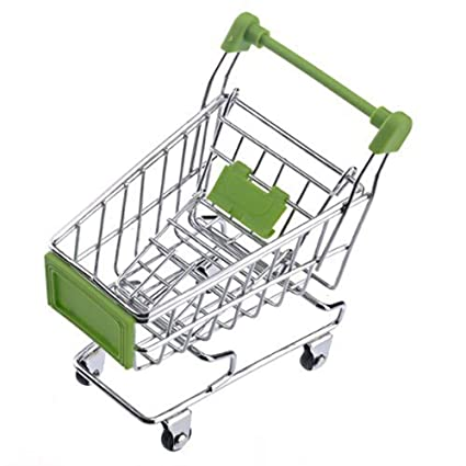 Ogquaton Novedad Mini carrito de compras Kids Trolley Simulation Supermercado Trolley Desktop Decoration (1Pcs)