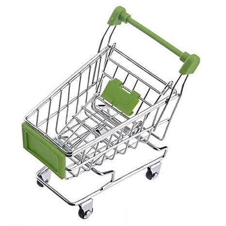 Ogquaton Novedad Mini carrito de compras Kids Trolley Simulation Supermercado Trolley Desktop Decoration (1Pcs)