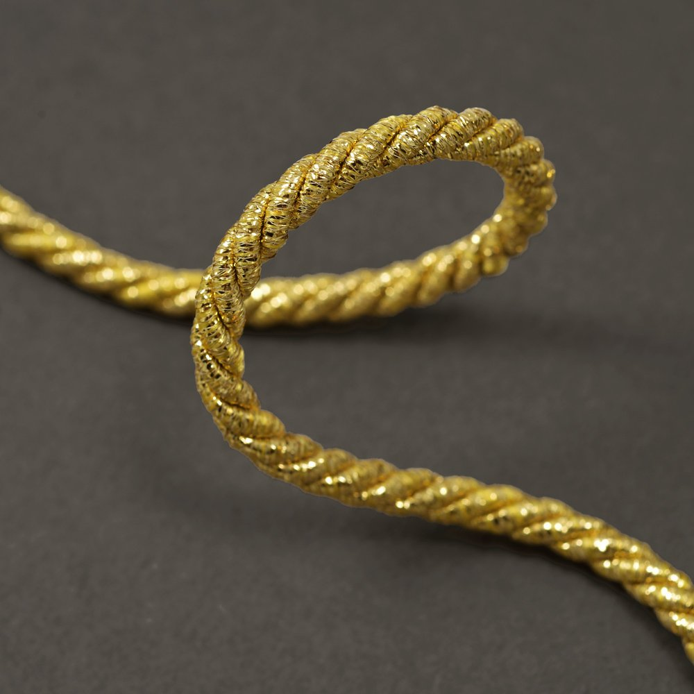 3-Yards 5mm GOLD Twisted Craft Cord for pillows, lamps, draperies, STEP-4151 Joyce Trimming