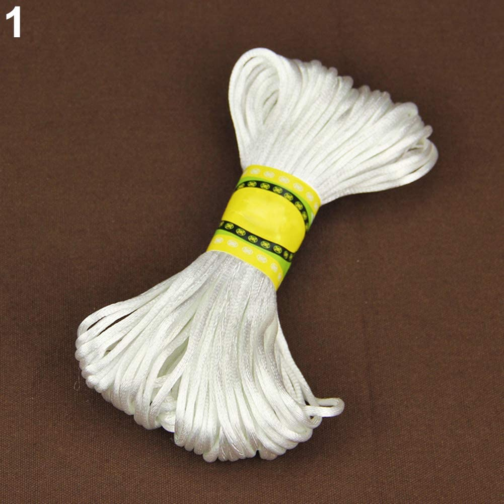 20M 2mm Rattail Satin Cord Nylon Macrame Braiding String Knitting Rope Crafts