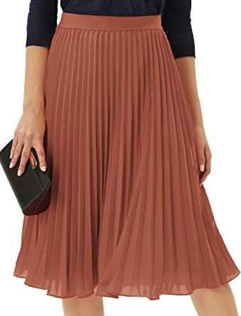 GRACE KARIN Women Vintage Elastic Waist Midi A-line Swing Pleated Skirt