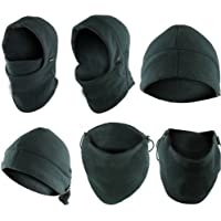 6-in-1 Neck Warmer Hoods Ski Motor Hat Thermal Balaclava Scarf Fleece Face Cs Mask Black One Size Fits All