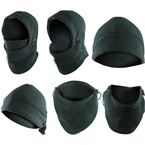 dd1627a7ca4 Image Unavailable. Image not available for. Color  6-in-1 Neck Warmer Hoods  Ski Motor Hat Thermal Balaclava Scarf Fleece Face