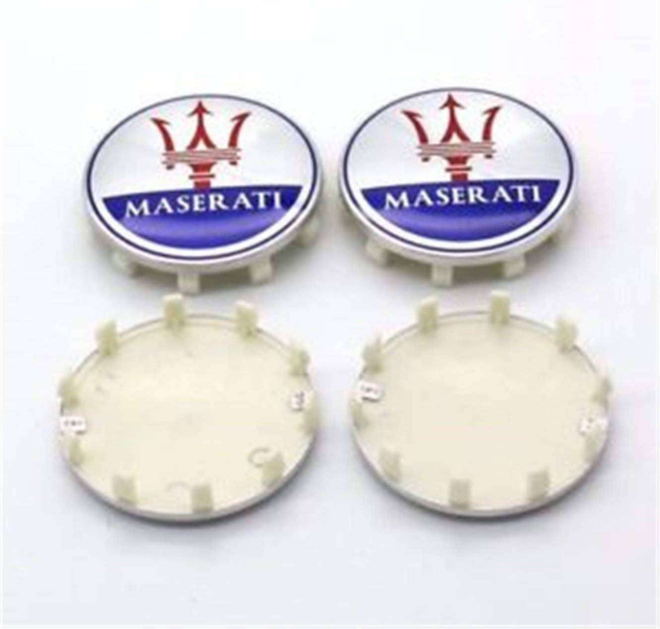 4X MASERATI QUATTROPORTE GHIBLI GTS SILVER RED BLUE WHEEL CENTER CAPS