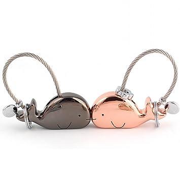 Joykey Llavero 1 Par Kissing Ballena Llavero para Pareja Amantes Valentines Sweet Regalo Zinc Aleación Brillante Llaveros con Boca magnética,Negro y ...
