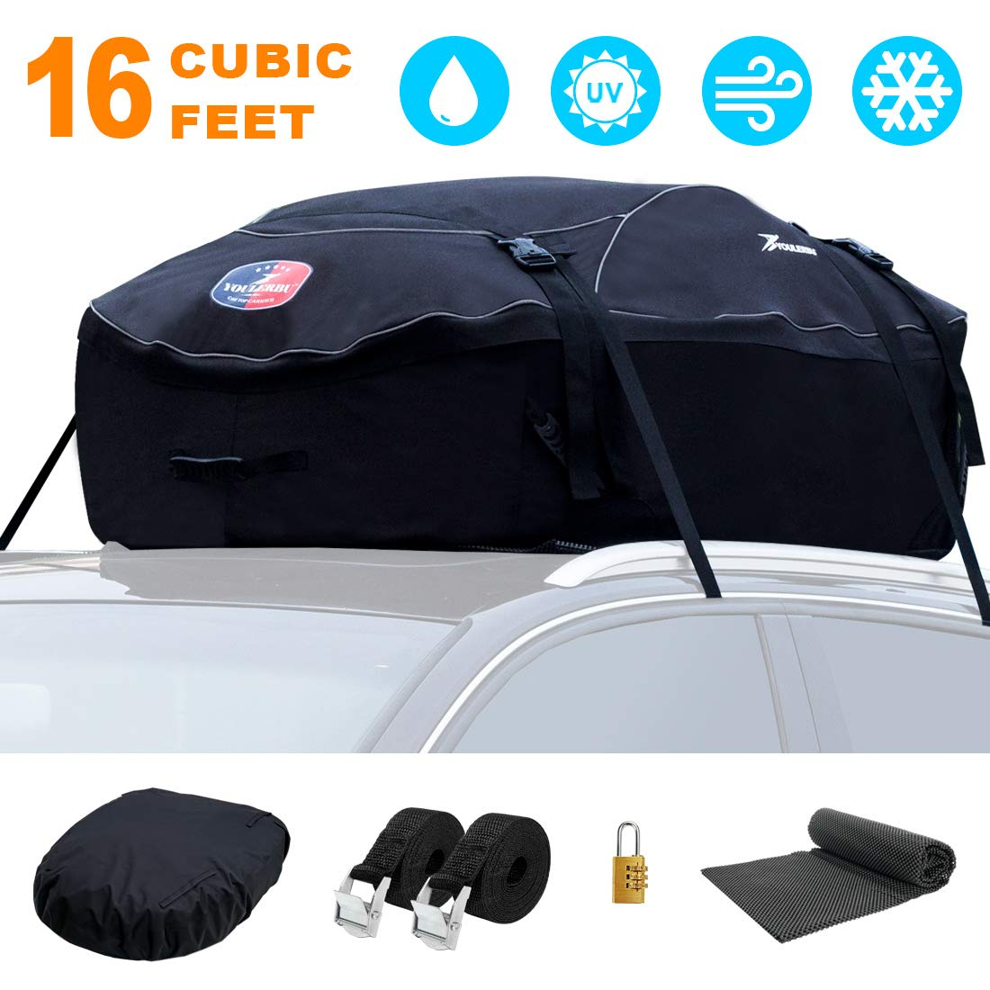 YOULERBU Rooftop Cargo Bag & Waterproof Cargo Carrier Bag with Protective Mat (16 Cubic Feet) for All Vehicle Roof Racks by YOULERBU