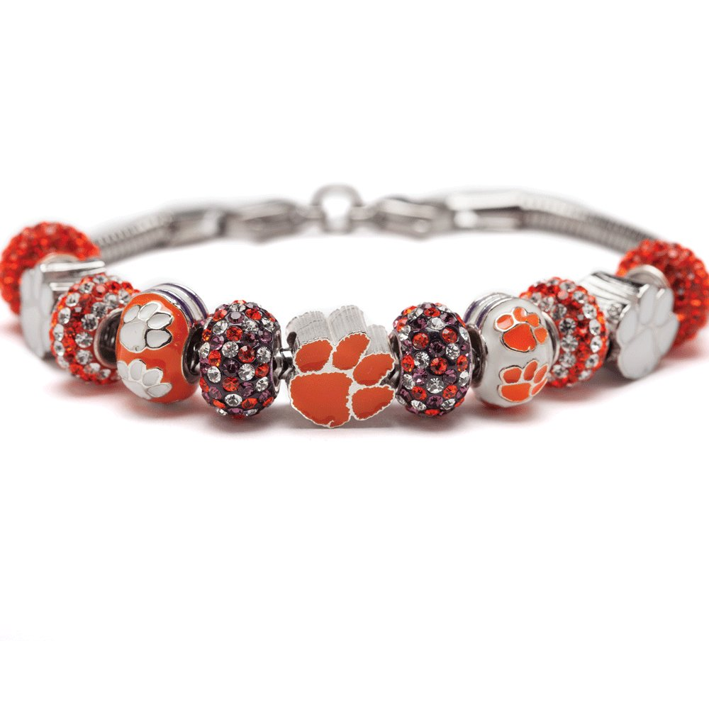 Clemson Tigers Charm Bracelet | Clemson University Bracelet | Stainless Steel Clemson Jewelry | Clemson Tigers Gifts| Officially Licensed by Clemson University