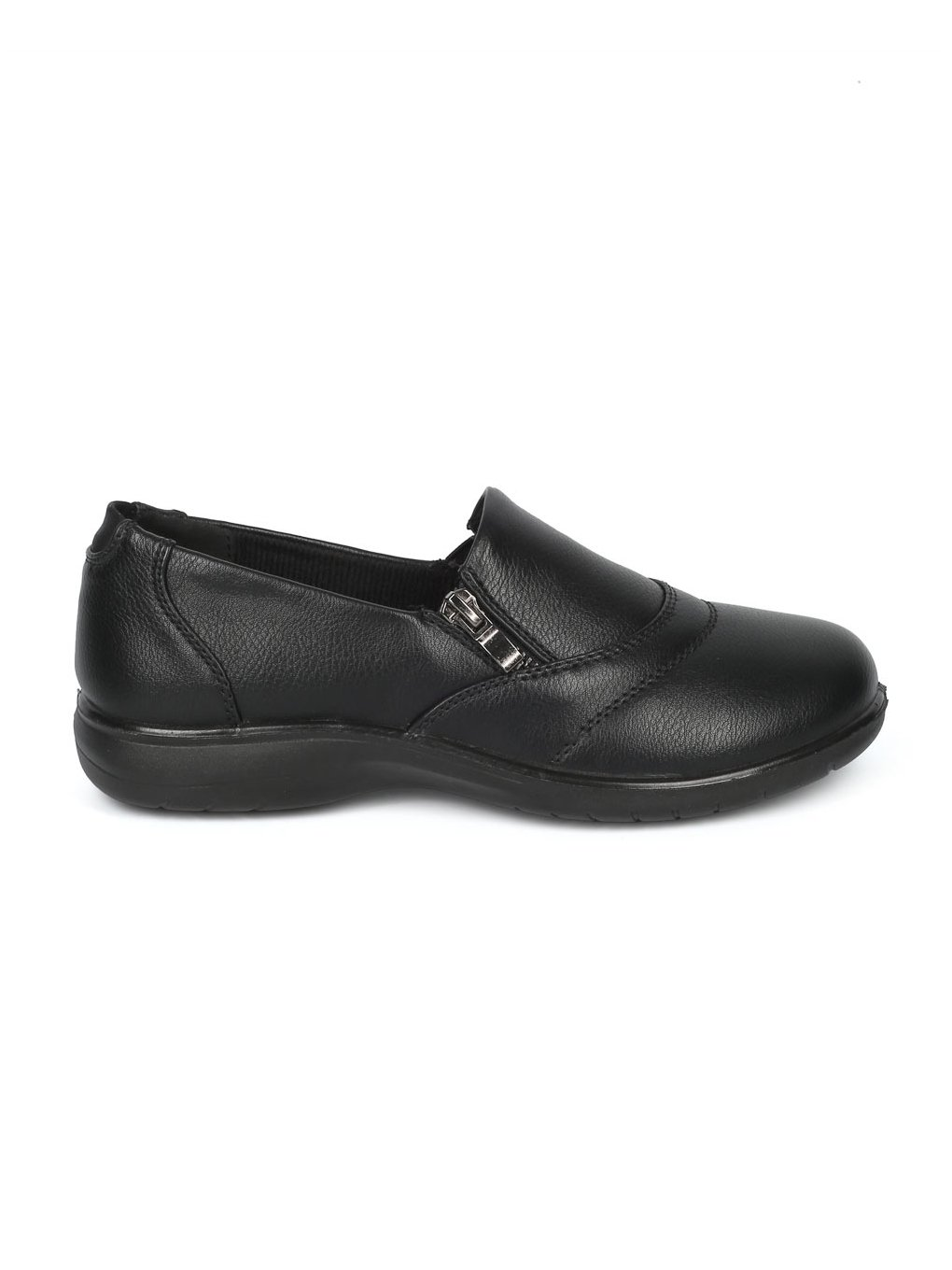 Alrisco Women Leatherette Round Toe Elevated Heel Work Loafer HD92 - Black Leatherette (Size: 7.0) by Alrisco (Image #2)