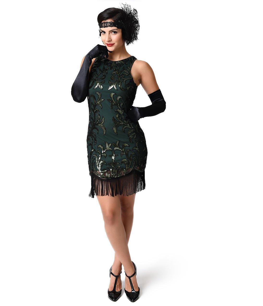 Unique Vintage 1920s Style Black & Emerald Deco Beaded Fringe Flapper Dress