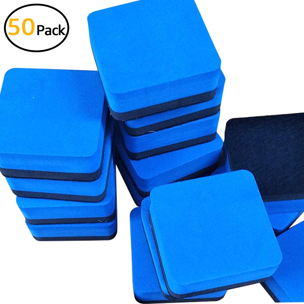 Magnetic Whiteboard Wipes Blackboard Cleaning Wipe Environmentally Friendly Portable Easy to Wipe No Trace Mini Classroom, Home and Office - Blue 555 Square