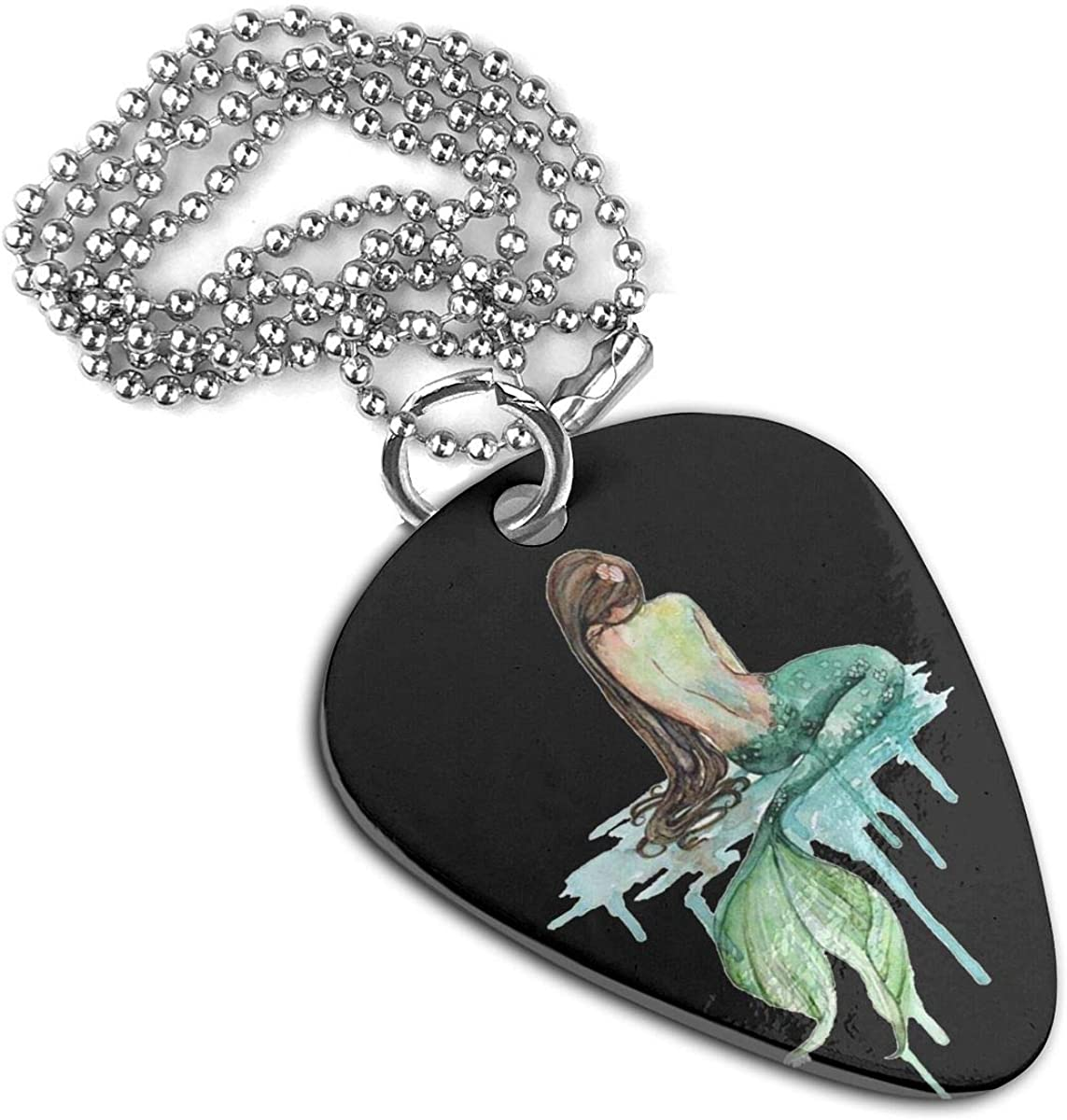 Mermaid Guitar Pick Necklace Pendant Pet Card Keychain