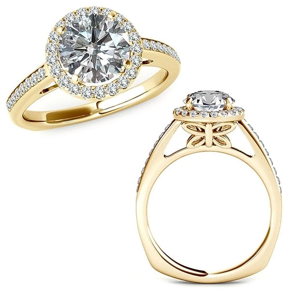 1.01 Carat G-H Diamond Beautiful Love Classy Halo Butterfly Design Promise Wedding Ring 14K Yellow Gold