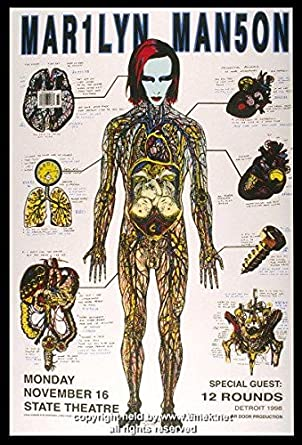 e67e12e6562 1998 Marilyn Manson w  12 Rounds Concert Poster by Emek at Amazon s ...