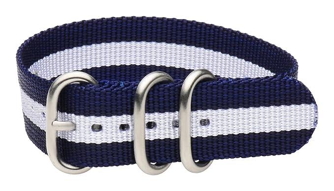 20 mm Premium 3-Ring urbanas (acero inoxidable), diseño de rayas azul marino/blanco militar Estilo Nailon Correa Para Reloj - Compatible con todos los ...