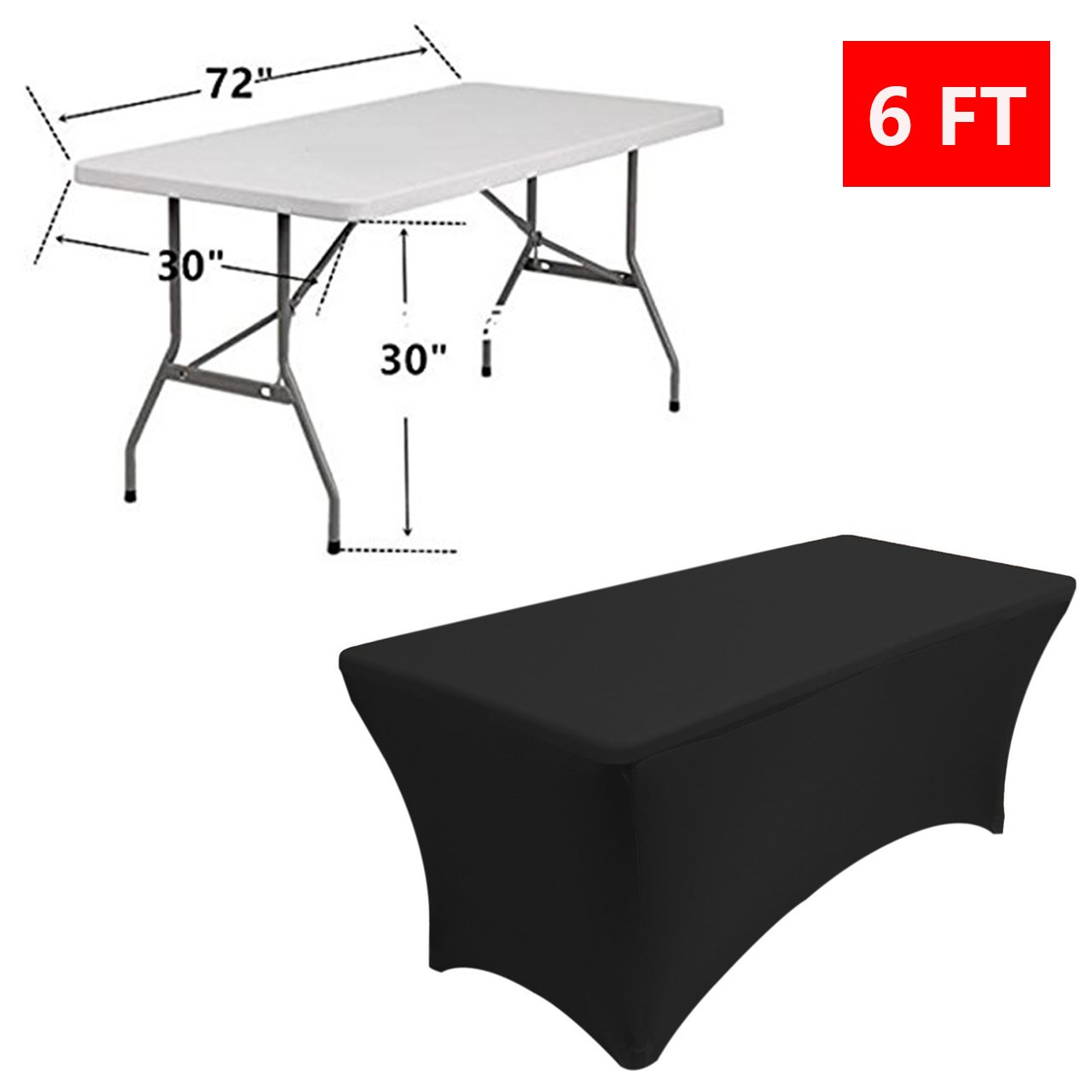 Reliancer 2 Pack 48FT Rectangular Spandex Table Cover Four-Way Tight Fitted Stretch Tablecloth Table Cloth for Outdoor Party DJ Tradeshows Banquet Vendors Weddings Celebrations (6FT, Black) by Reliancer (Image #4)