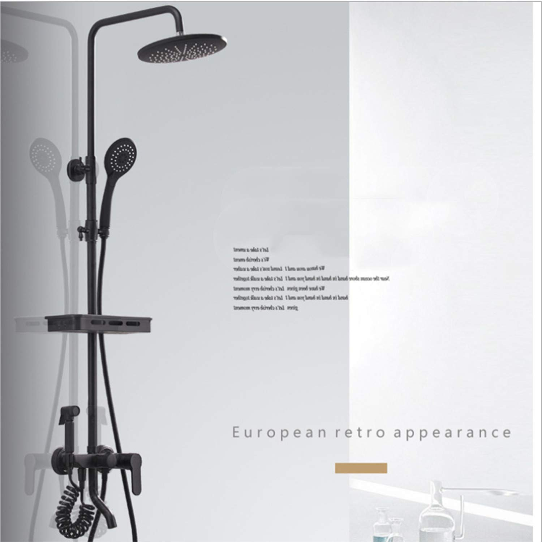 UNIQUE-F Matte Black Brass Body Four-Speed Bathtub Shower Set Rotatable Portable Top Spray Rack Corrosion-Resistant Wear-Resistant by UNIQUE-F (Image #1)