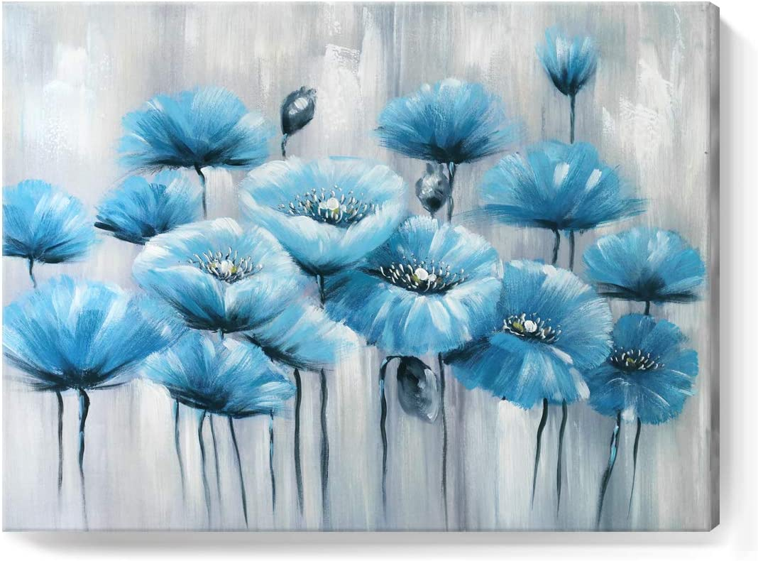 amatop Blue Wall Art 100 Hand-Painted Abstract Flower Oil Painting Modern Framed Floral Artwork on Wrapped Canvas for Living Room Bedroom Home Office Kitchen Decor Ready to Hang 24x32inch