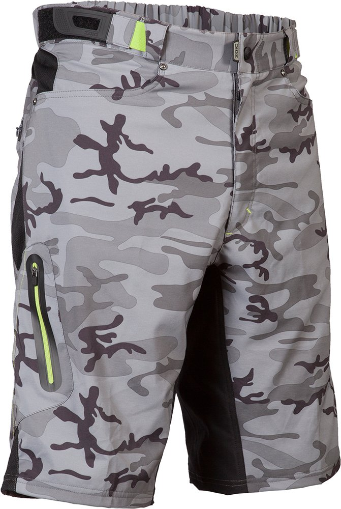 ZOIC Men's Ether Cycling Shorts, Grey Camo, Medium