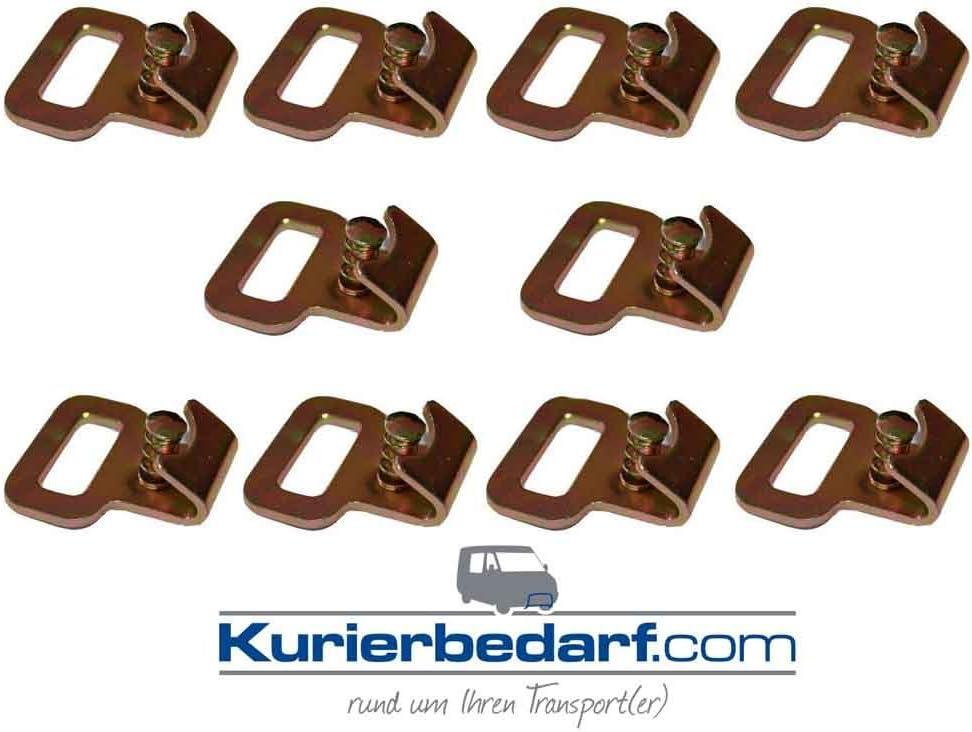 10x Flachhaken Mit Gefedertem Sicherungsstift Z B Für Stäbchen Zurrschiene Auto