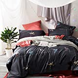 Nordic Style Bedding Sets 100% Cotton Birds Pattern Bedding Set Vintage Duvet Cover Set with Flat Sheet Pillowcases for Summer,without Comforter (King,#3)