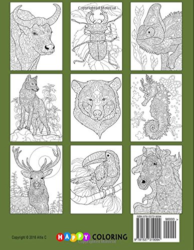 Amazon Doodle Animals Coloring Book For Adults 9781537319094 Happy Amanda Neel Books
