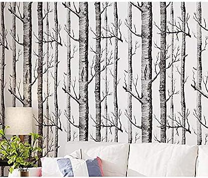 Birch Tree Wallpaper H2mtool Removable Self Adhesive Wood Wallpaper Peel And Stick 17 7 X 78 7 White Birch Amazon Com