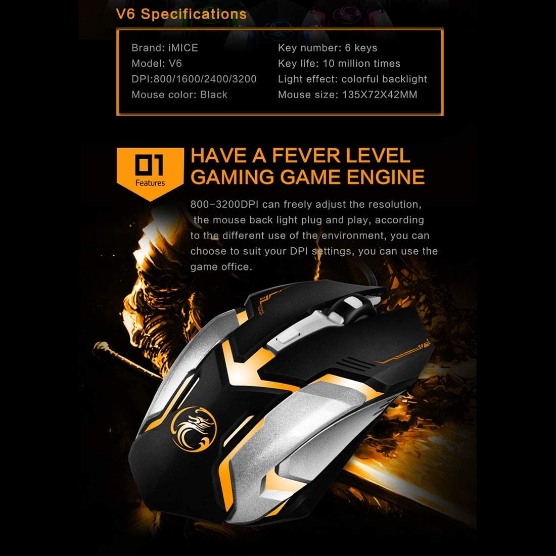 DDETAO V6 LED Colorful Light USB 6 Buttons 3200 DPI Wired Optical Gaming Mouse for Computer PC Laptop Color : Black Black Mice