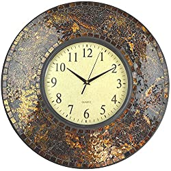 Lulu Decor, 19 Amber Crush Mosaic Wall Clock, Arabic Number Dial 9.5 for Living Room & Office Space (LP71)