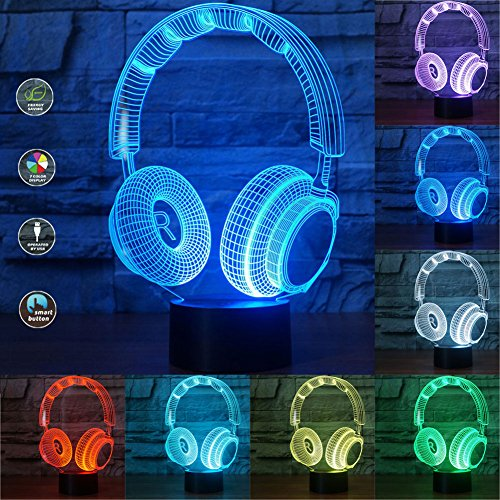 3D Headset LED Table Desk Night Light,Illusion Shaped Soft Multi-colored Change for Home Bedroom Decorations ,USB Powered or Battery Powered (Earphone) Shaped Earphone