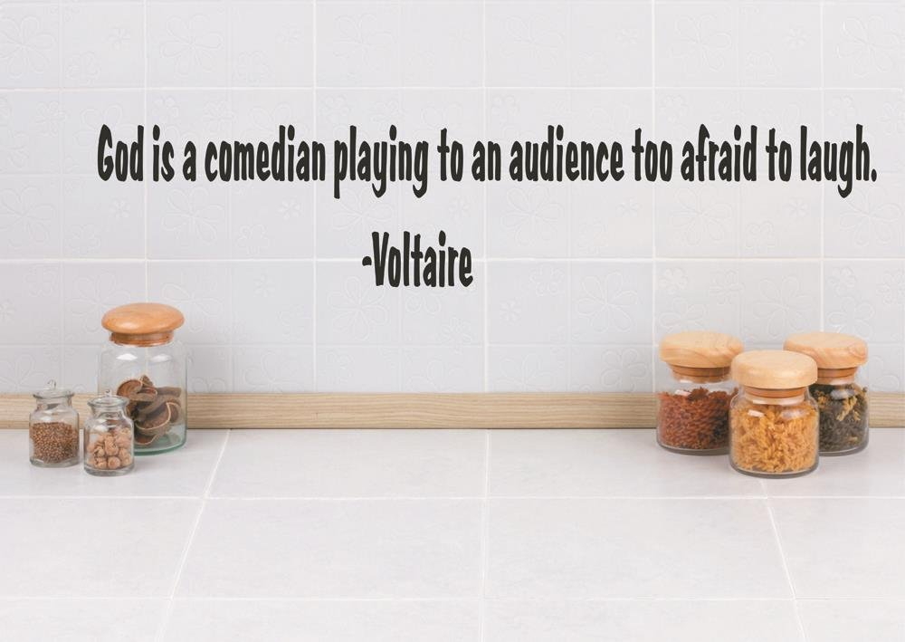 Design with Vinyl RAD 178 3 God is A Comedian Playing to an Audience Too Afraid to Laugh Voltaire Quote Decor Wall Decal Sticker Black 6 x 40