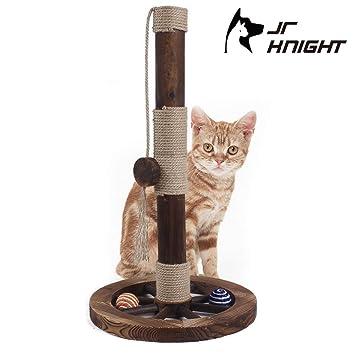 JR Knight CP01WD Juguete para rascar gatos, poste de madera, 60 cm de altura con dos bolas de sisal: Amazon.es: Hogar