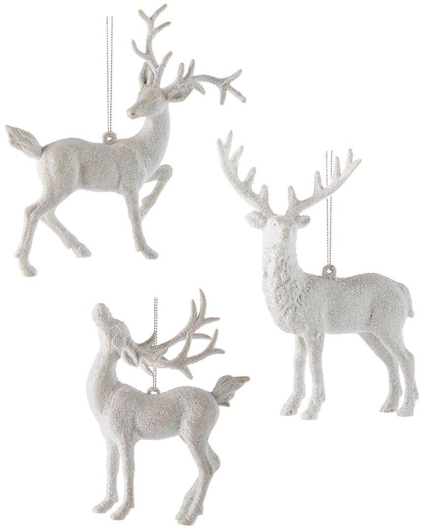 "Kurt Adler 5.5-5.9"" Plastic Deer Ornament 3/asstd."
