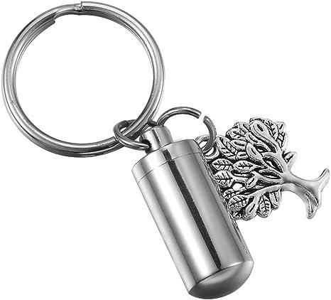 HOUSWEETY Cremation Jewelry Cylinder Bottle Urn Keychain Keyring Memorial Ashes Keepsake