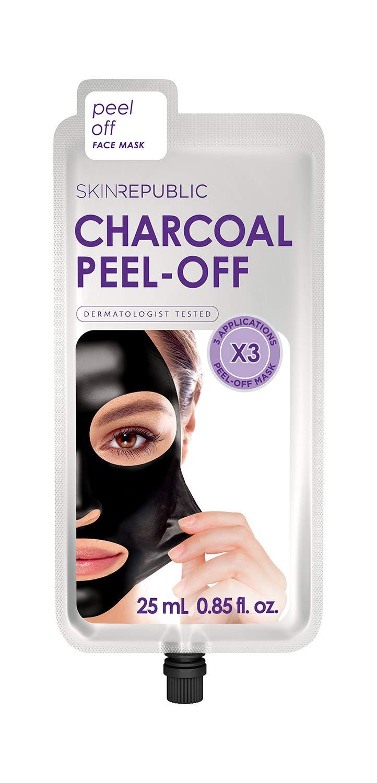 Skin Republic Korean Charcoal Peel-Off Face Mask - Includes 2 Packs (6 Applications Total) - Anti Blackhead Pore Reducing Skin Care