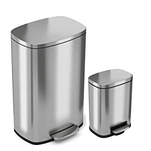 iTouchless SoftStep Combo Pack 13.2 Gal & 1.32 Gal Step Trash Can with Odor Filter & Inner Bucket, Stainless Steel Step Pedal Garbage Bin for Office and Kitchen, Soft and Quiet Lid Close