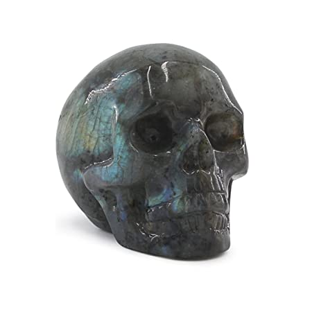 Tianmai 0.29 lb Natural Labradorite Carved Realistic Crystal Skull Sculpture, Healing Energy Reiki Gemstone Collectible Figurine