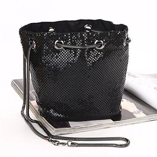Womens Chain With Bags Rhinestone Wedding Black Adjustable Crystal Color Evening Rabbit Purse Clutch Lovely Black Strap PRqp5Fxnzz