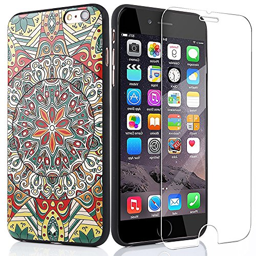 iPhone 6s Plus Case,MIZOO Ultra Thin Soft Silicone 3D Relief Printing Designand Full Protective Cover for iPhone 6 Plus,Glasses Screen Protector FilmIncluded as a Gift (5.5 Inch) (Flower Totem-01) (Vintage Owl Iphone 4 Case compare prices)