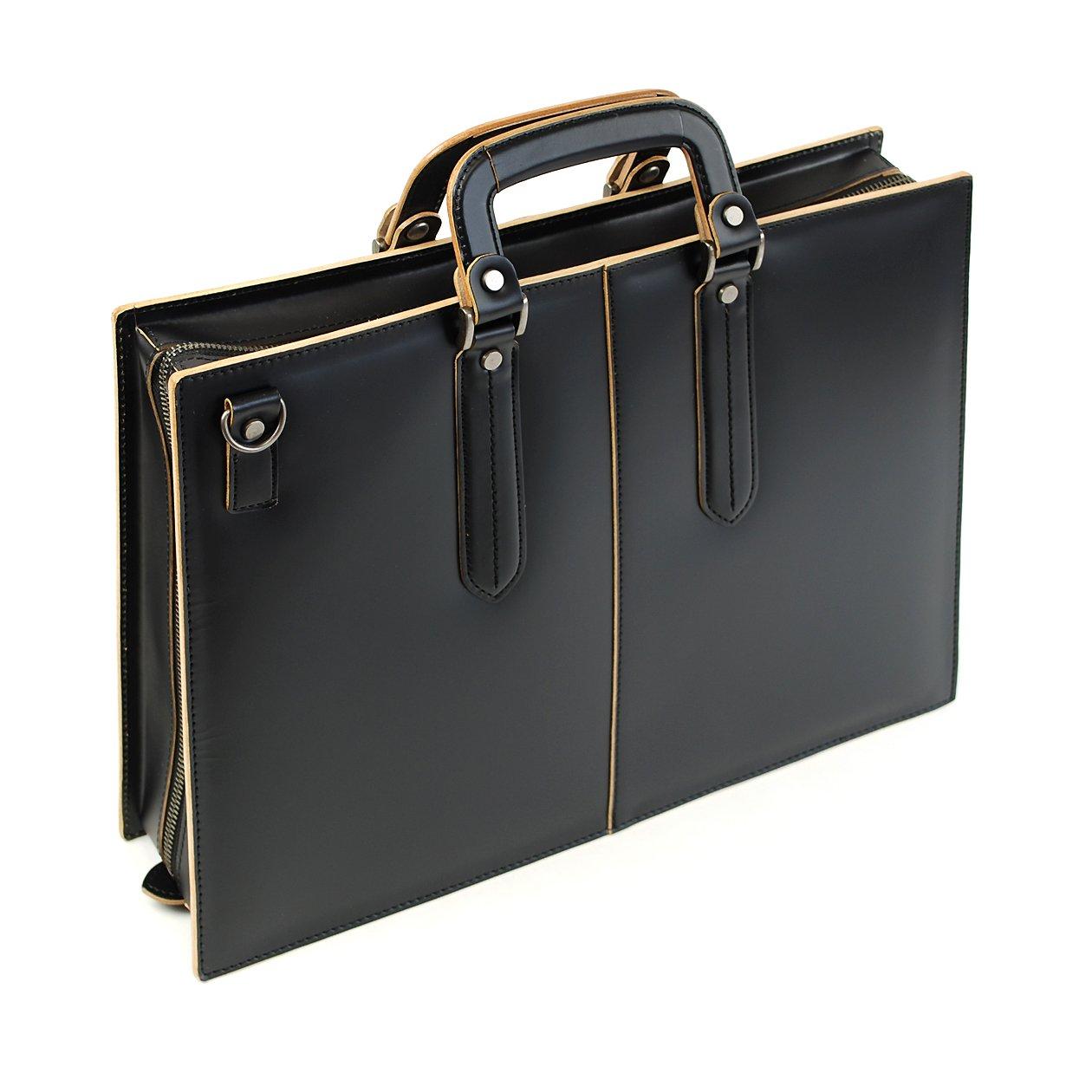[コンプレックスガーデンズ] 枯淡シリーズ 2WAY ブリーフバッグ 40cm A4サイズ 3方開き 3703 B00B5319SS ブラック(10)