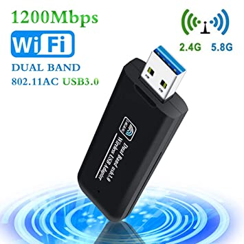 PiAEK USB WiFi Adapter 1200Mbps USB 3 0 Wireless Network Dongle for  Desktop/Laptop Dual Band 802 11 AC 2 4G/300Mbps+5 8G/867Mbps Support  Windows