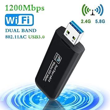 PiAEK Adaptador WiFi USB 1200Mbps 802.11AC Dual Band 2.4GHz/5.8GHz Receptor WiFi USB 3.0 para PC Portátiles de Escritorio Compatible con ...