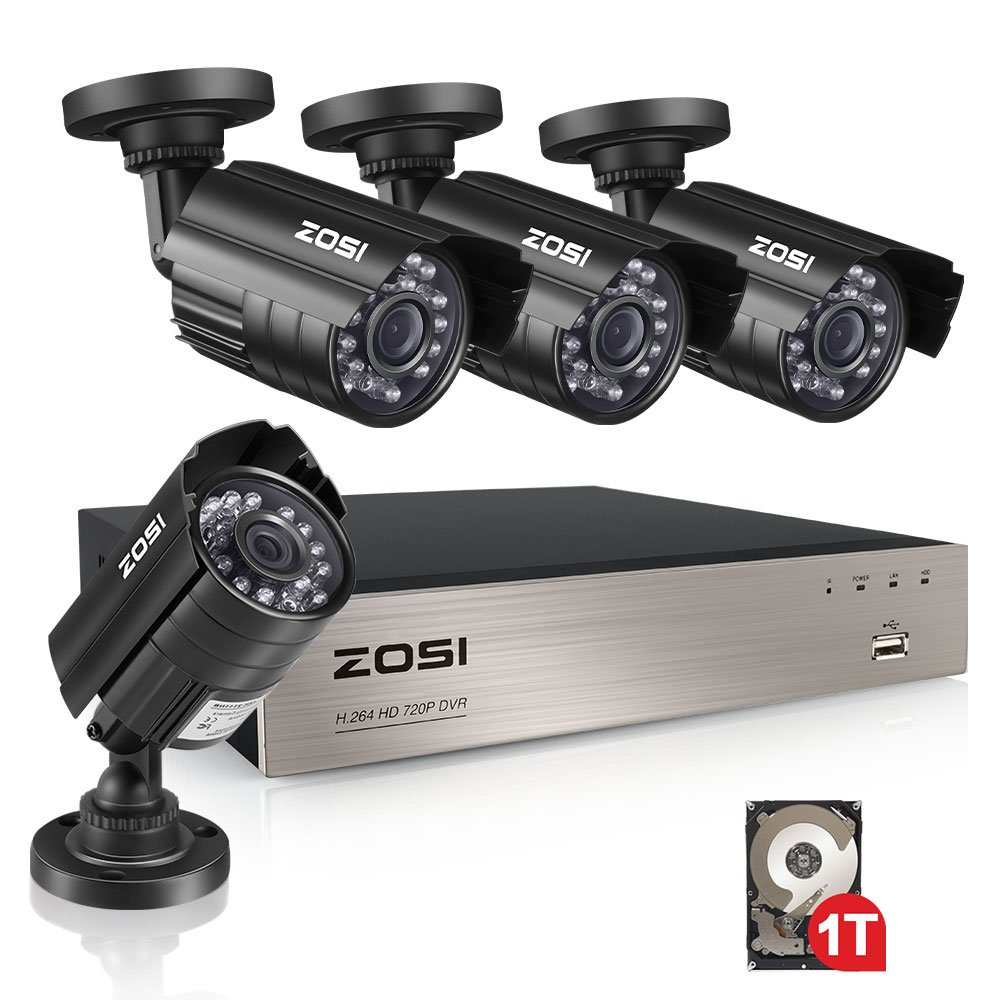 ZOSI 4-Channel HD 720P Video Security System DVR recorder with 4x HD 1280TVL Indoor/Outdoor Weatherproof CCTV Cameras 1TB Hard Drive ,Motion Alert, Smartphone& PC Easy Remote Access