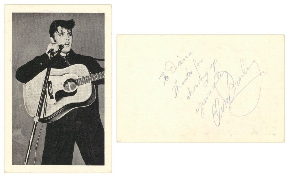 Elvis Presley Double Autographed Signed 3.5X5.5 Postcard Beckett Authentication A86036