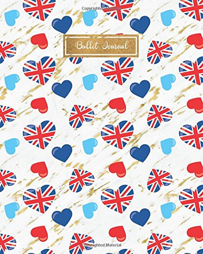 Bullet Journal: England Union Jack Royal Wedding Gold Marble, 160 Dot Grid Pages, 8 x 10 Blank Bullet Journal Notebook with 1/4 inch Dotted Paper, Perfect Bound Softcover
