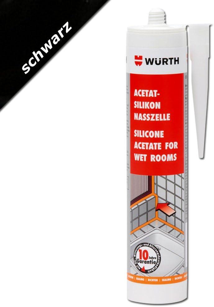 WürthSilicona acetato para habitaciones húmedas Negro (310ml)