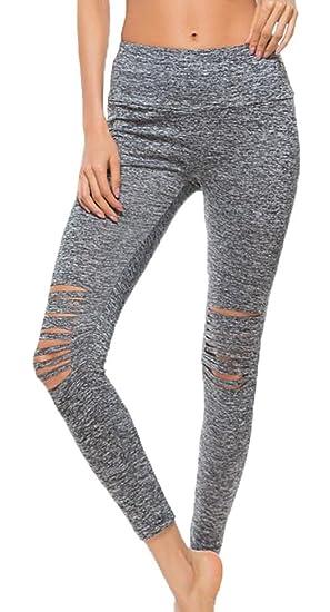 2c70c96d756 BYWX-Women Plus Size Ripped Holes Sport High Waist Pants Yoga Leggings at  Amazon Women s Clothing store