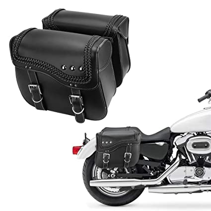 Motorcycle Saddlebags Synthetic Leather Side Tool Bags for Sportster  Softail Dyna Yamaha Honda Kawasaki Suzuki Saddlebags